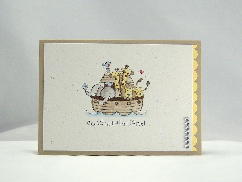 Geburt / Taufe - Karte zur Geburt/Taufe Arche coloriert