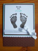 Karte zur Geburt Babyfüsse Junge