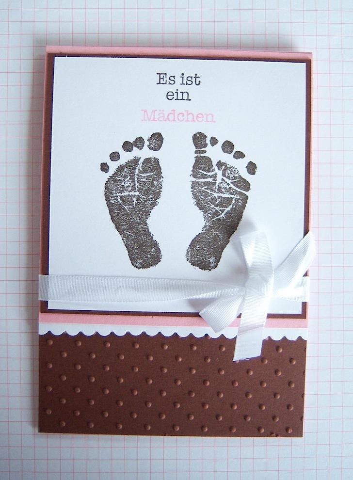 Karte zur Geburt Babyfüsse Mädchen