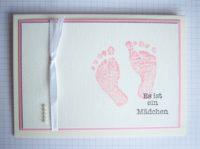 Karte zur Geburt Babyfüsse rosa