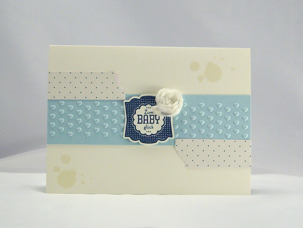 Geburt / Taufe - Karte zur Geburt Babyglück blau 1