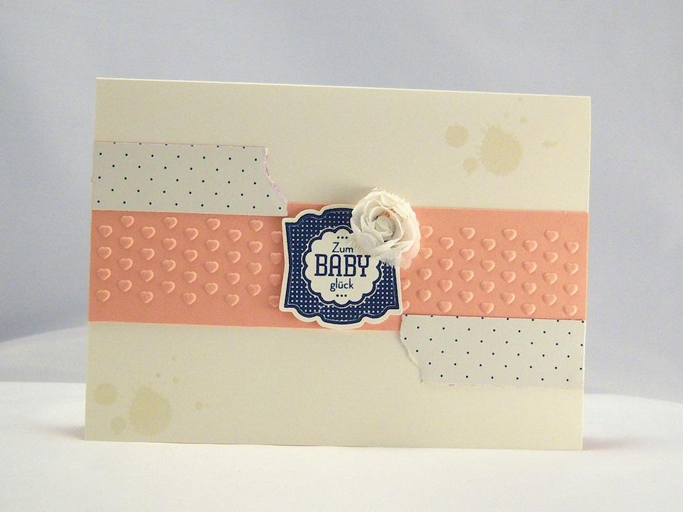 Karte zur Geburt Babyglück rosa 1