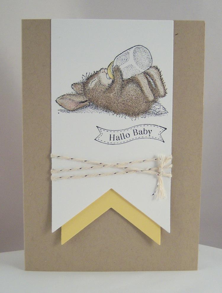 Geburt / Taufe - Karte zur Geburt Hallo Baby Kaninchen