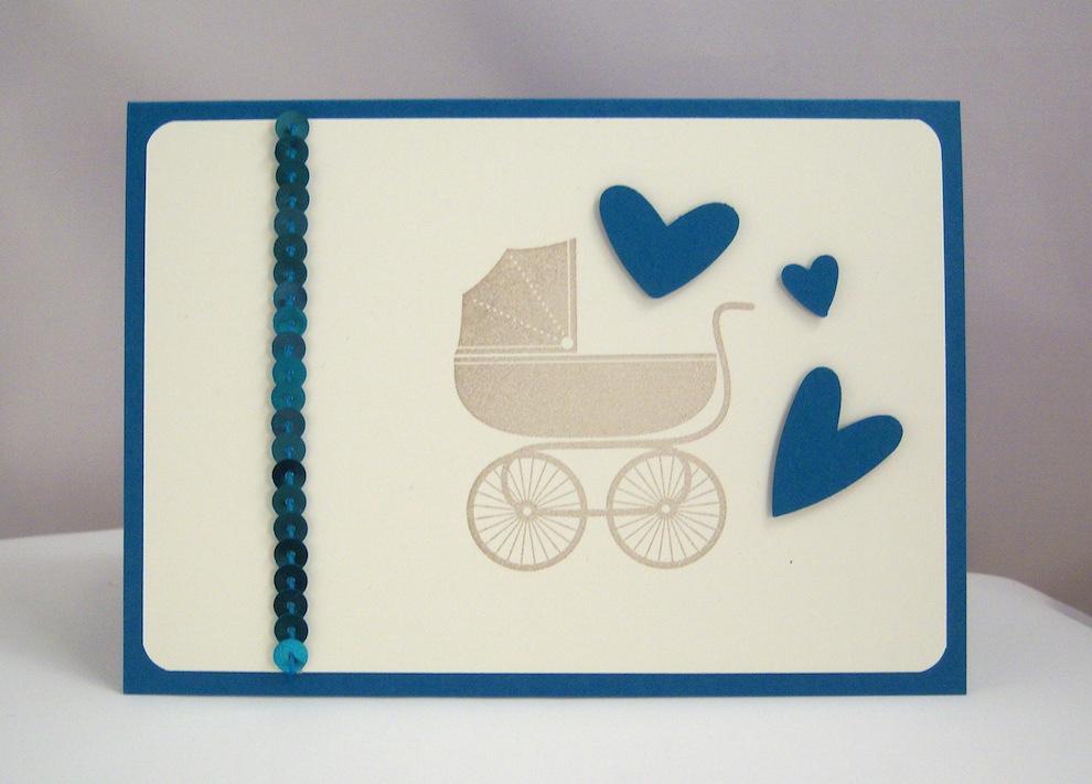 Geburt / Taufe - Karte zur Geburt Kinderwagen blau