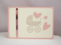 Karte zur Geburt Kinderwagen rosa