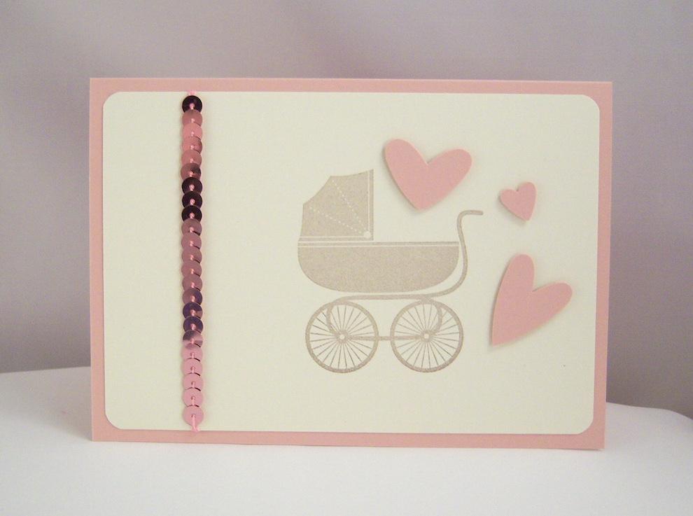 Geburt / Taufe - Karte zur Geburt Kinderwagen rosa