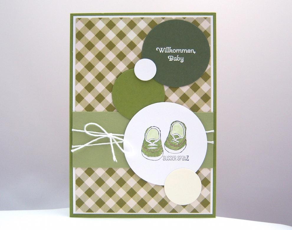Geburt / Taufe - Karte zur Geburt Süsser Spatz Schuhe