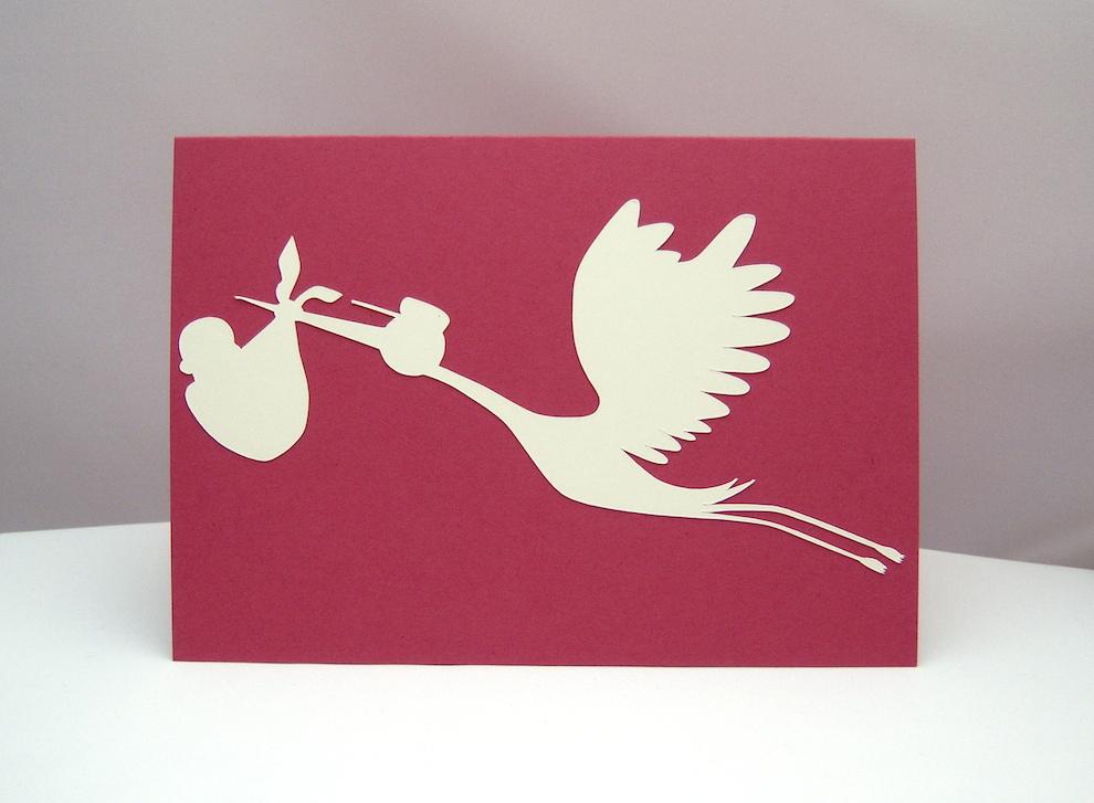 Geburt / Taufe - Karte zur Geburt Storch
