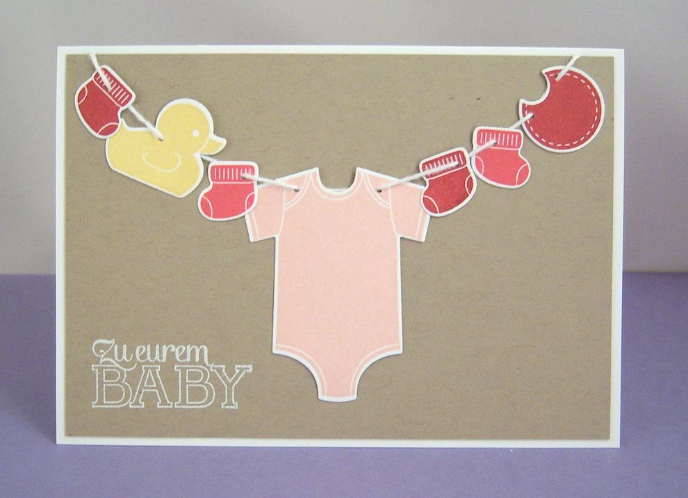 Geburt / Taufe - Karte zur Geburt Wäscheleine rosa