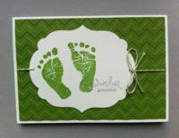 Karte zur Geburt Wunder geschehen dunkelgrün