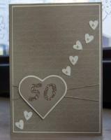 Karte zur Goldenen Hochzeit Herzen