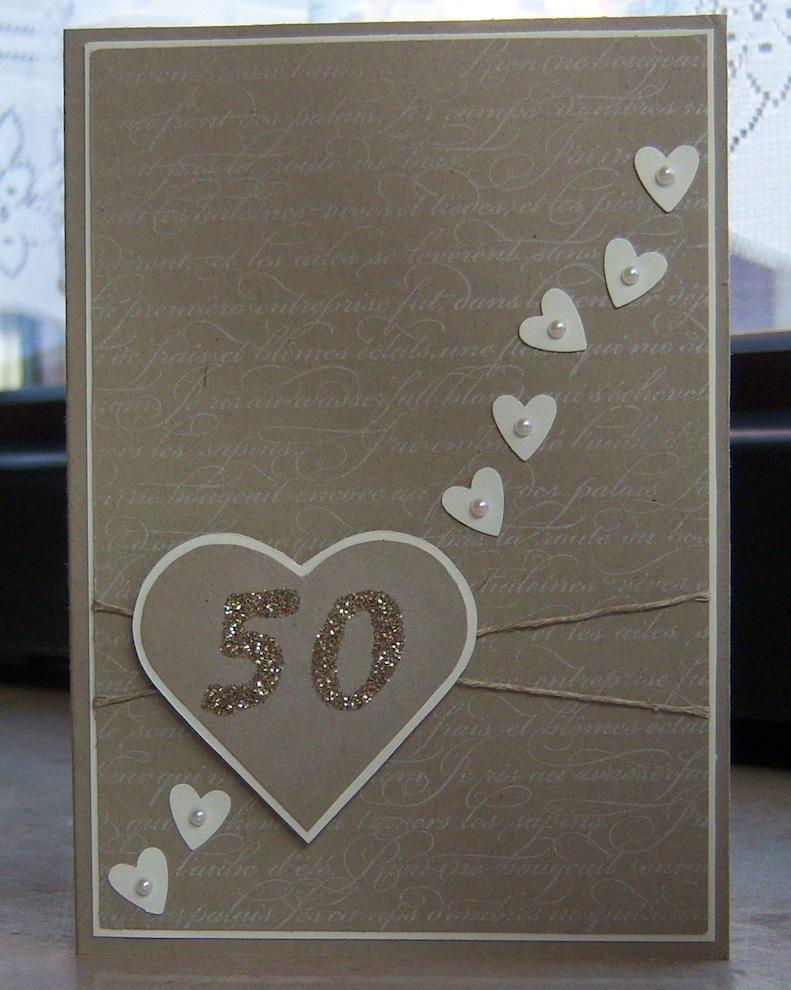 Hochzeit - Karte zur Goldenen Hochzeit Herzen