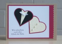 Karte zur Hochzeit Brautpaar Herzen