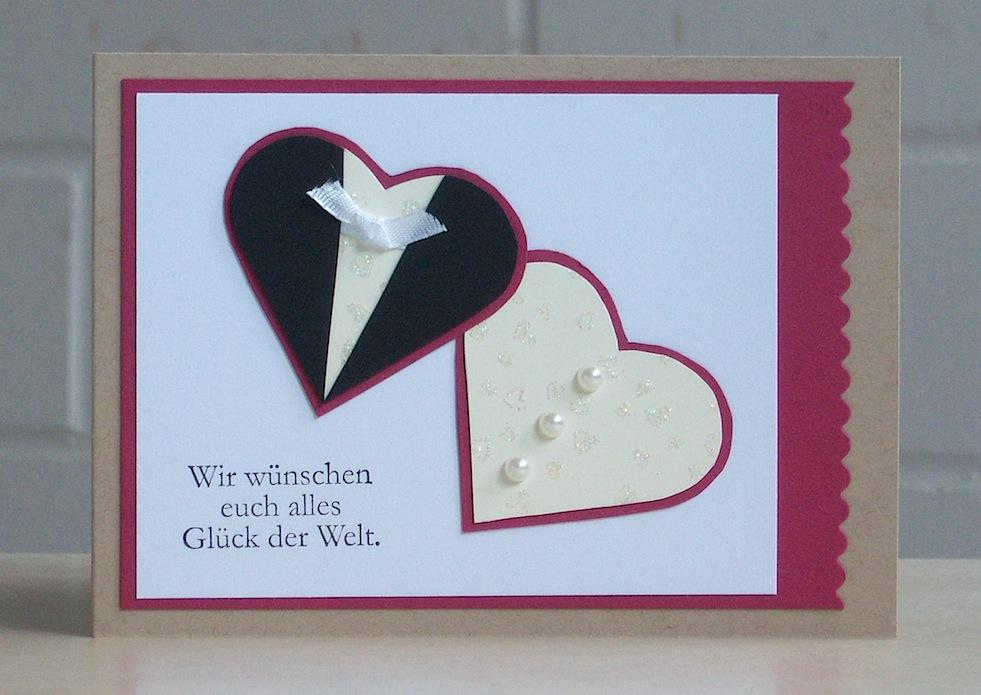 Hochzeit - Karte zur Hochzeit Brautpaar Herzen