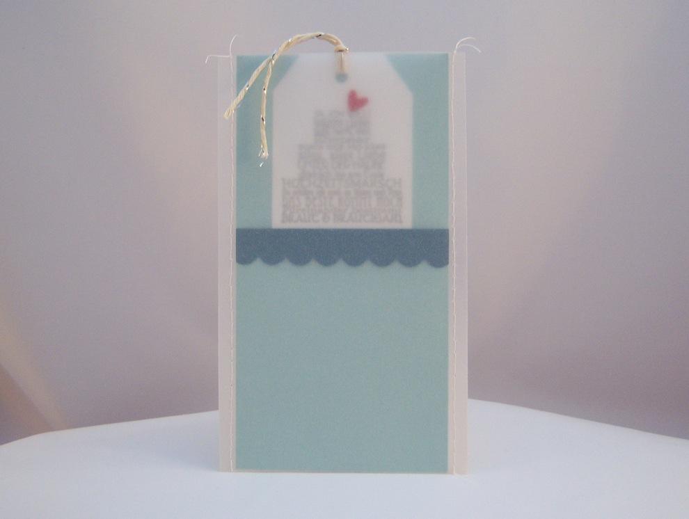 Hochzeit - Karte zur Hochzeit Genaeht Pergament Torte 1