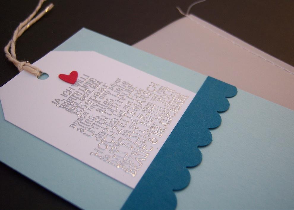 Karte zur Hochzeit Genaeht Pergament Torte 2
