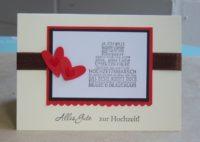Karte zur Hochzeit Herzen Torte alt