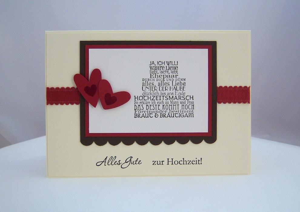 Hochzeit - Karte zur Hochzeit Herzen Torte neu