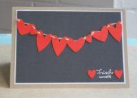 Karte zur Hochzeit Herzen Wäscheleine