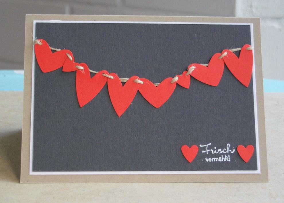 Hochzeit - Karte zur Hochzeit Herzen Wäscheleine
