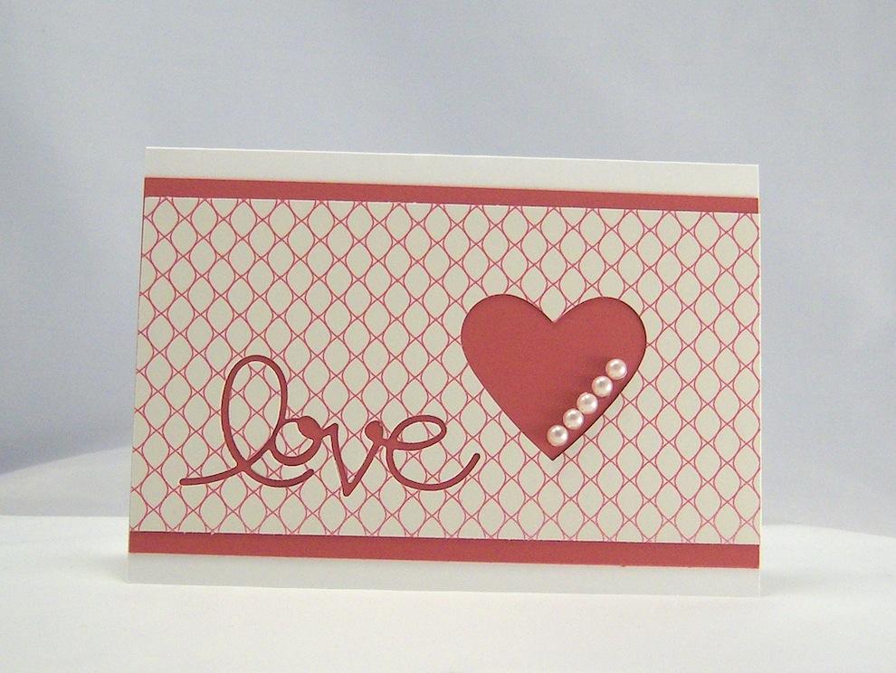 Hochzeit - Karte zur Hochzeit Love Herz mit Perlen 1
