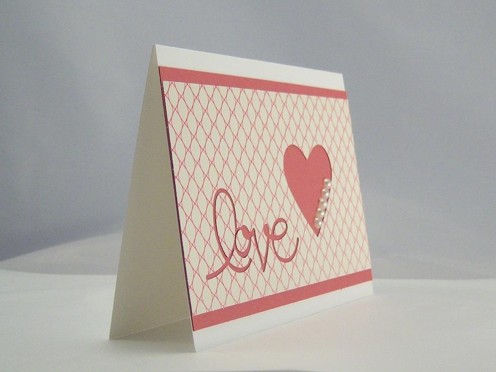 Karte zur Hochzeit Love Herz mit Perlen 2