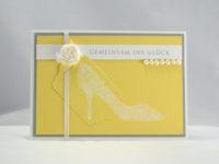 Karte zur Hochzeit Schuh gelb