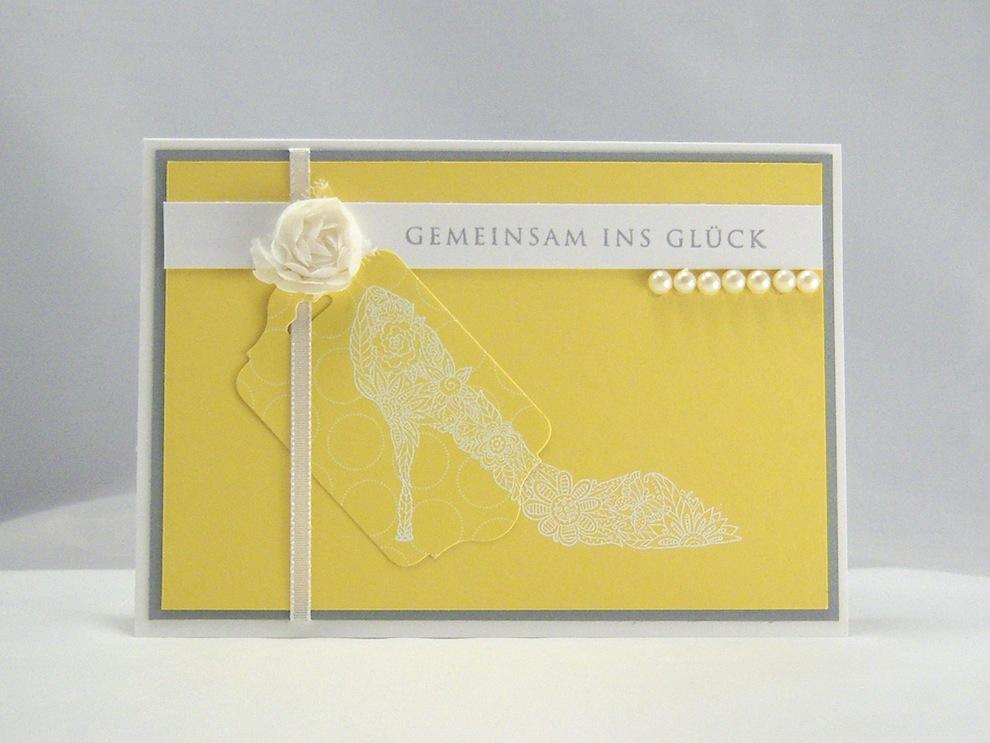 Hochzeit - Karte zur Hochzeit Schuh gelb