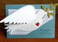 Karte zur Hochzeit Taube Herz