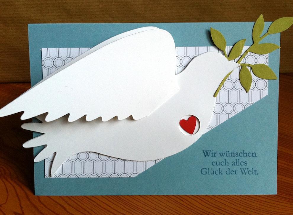 Hochzeit - Karte zur Hochzeit Taube Herz