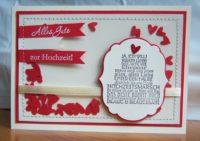 Karte zur Hochzeit genaeht Torte