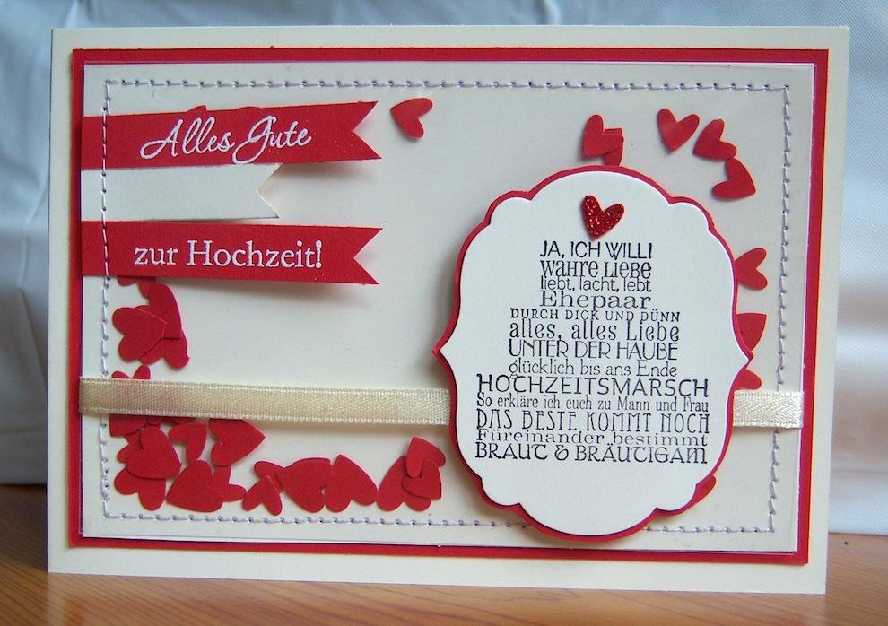 Hochzeit - Karte zur Hochzeit genaeht Torte
