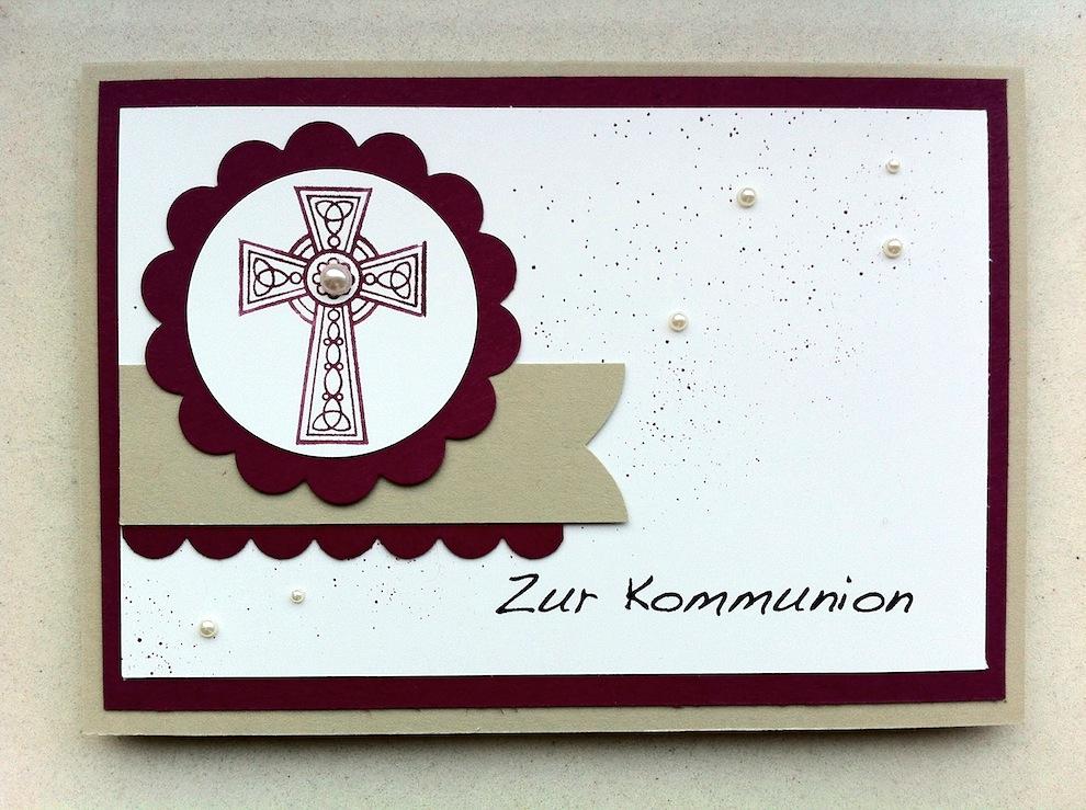 Konfirmation - Karte zur Kommunion Kreuz mit Perlen