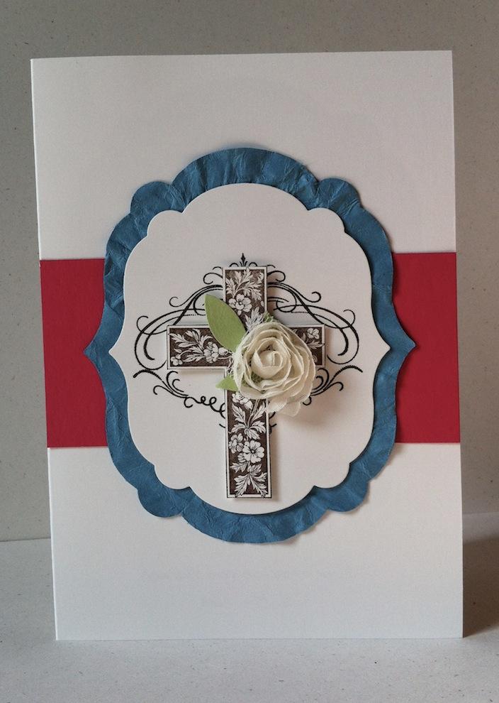 Karte zur Konfirmation/Kommunion Kreuz Rose rosa