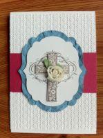 Karte zur Konfirmation/Kommunion Kreuz Rose rosa alt