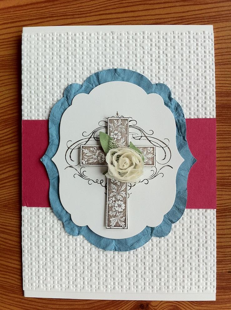 Konfirmation - Karte zur Konfirmation/Kommunion Kreuz Rose rosa alt