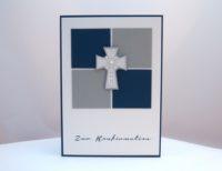 Karte zur Konfirmation Kreuz Bausteine blau
