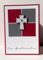 Karte zur Konfirmation Kreuz Bausteine rot