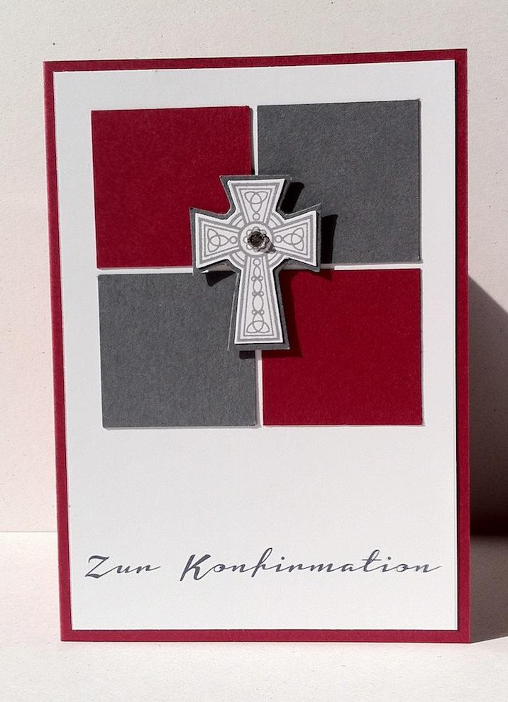 Konfirmation - Karte zur Konfirmation Kreuz Bausteine rot