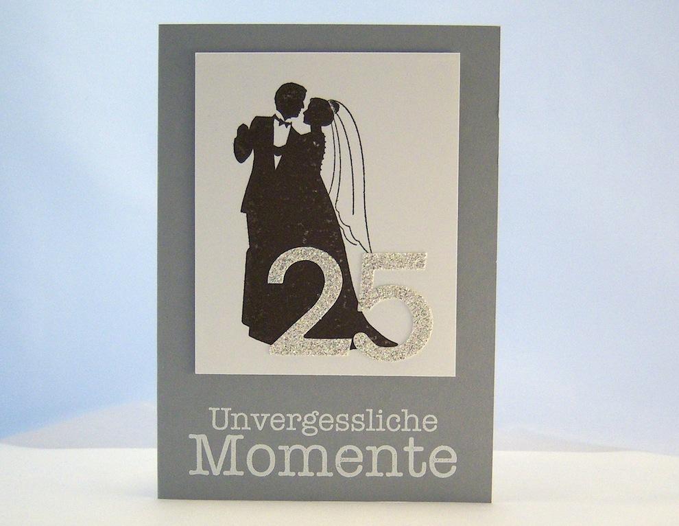 Hochzeit - Karte zur Silbernen Hochzeit Unvergessliche Momente