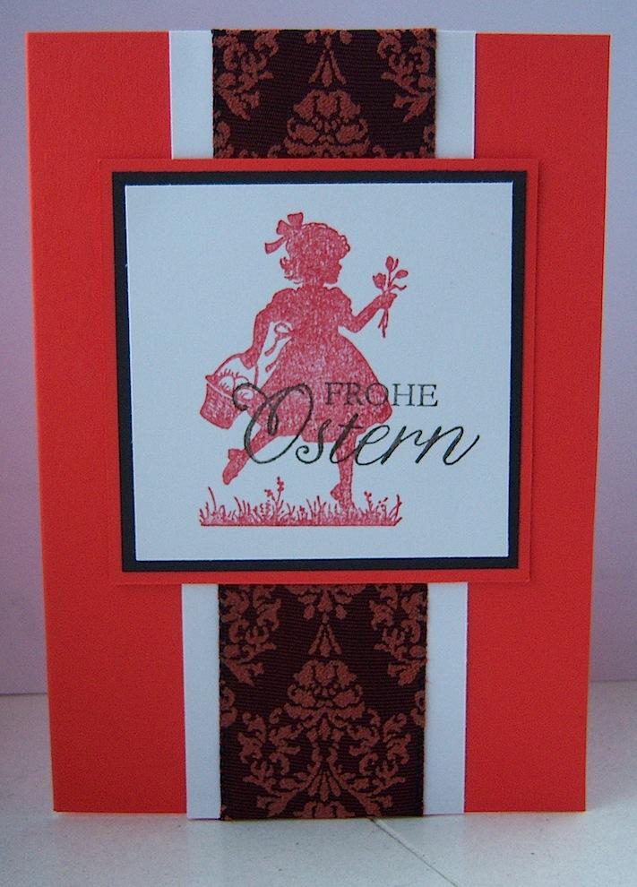 Ostern - Osterkarte Blumenmädchen rot