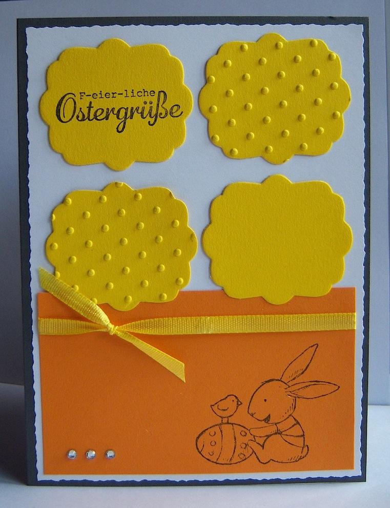 Ostern - Osterkarte Hase gelb orange