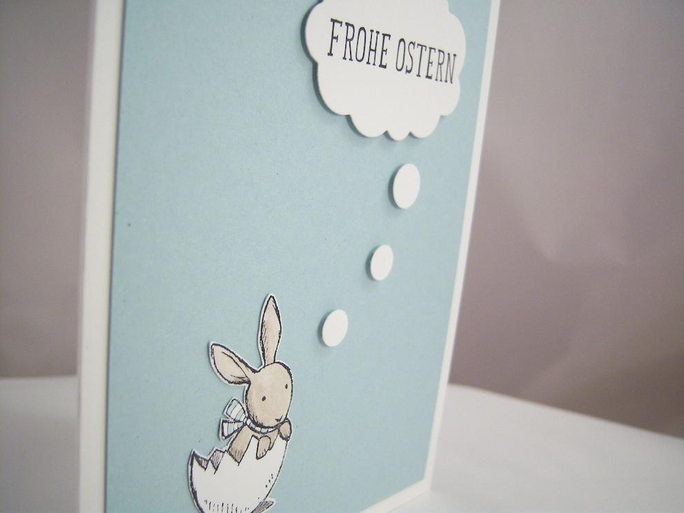 Osterkarte Hase in Gedanken 2