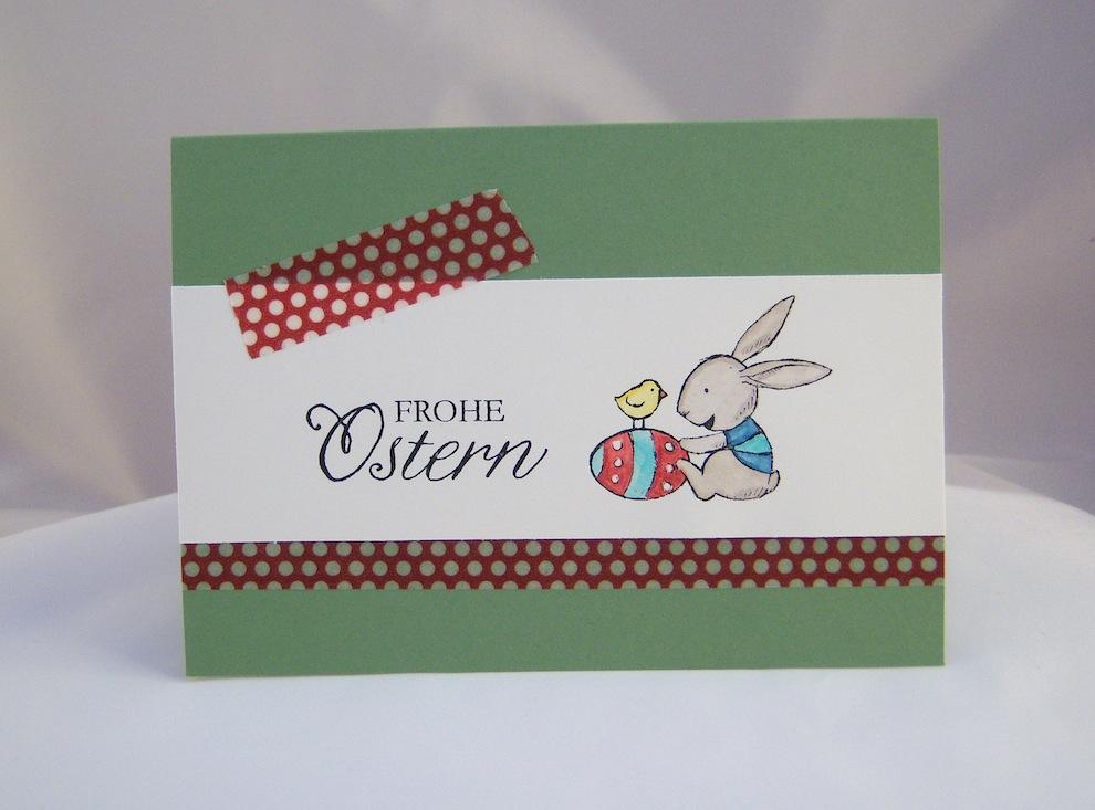 Ostern - Osterkarte Hase mit Osterei