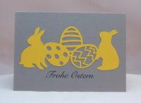 Osterkarte Hasen und Eier