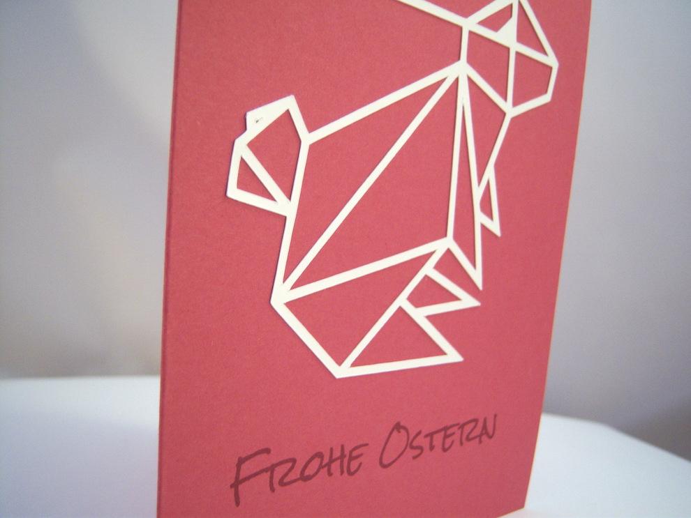 Osterkarte Origami Hase 2