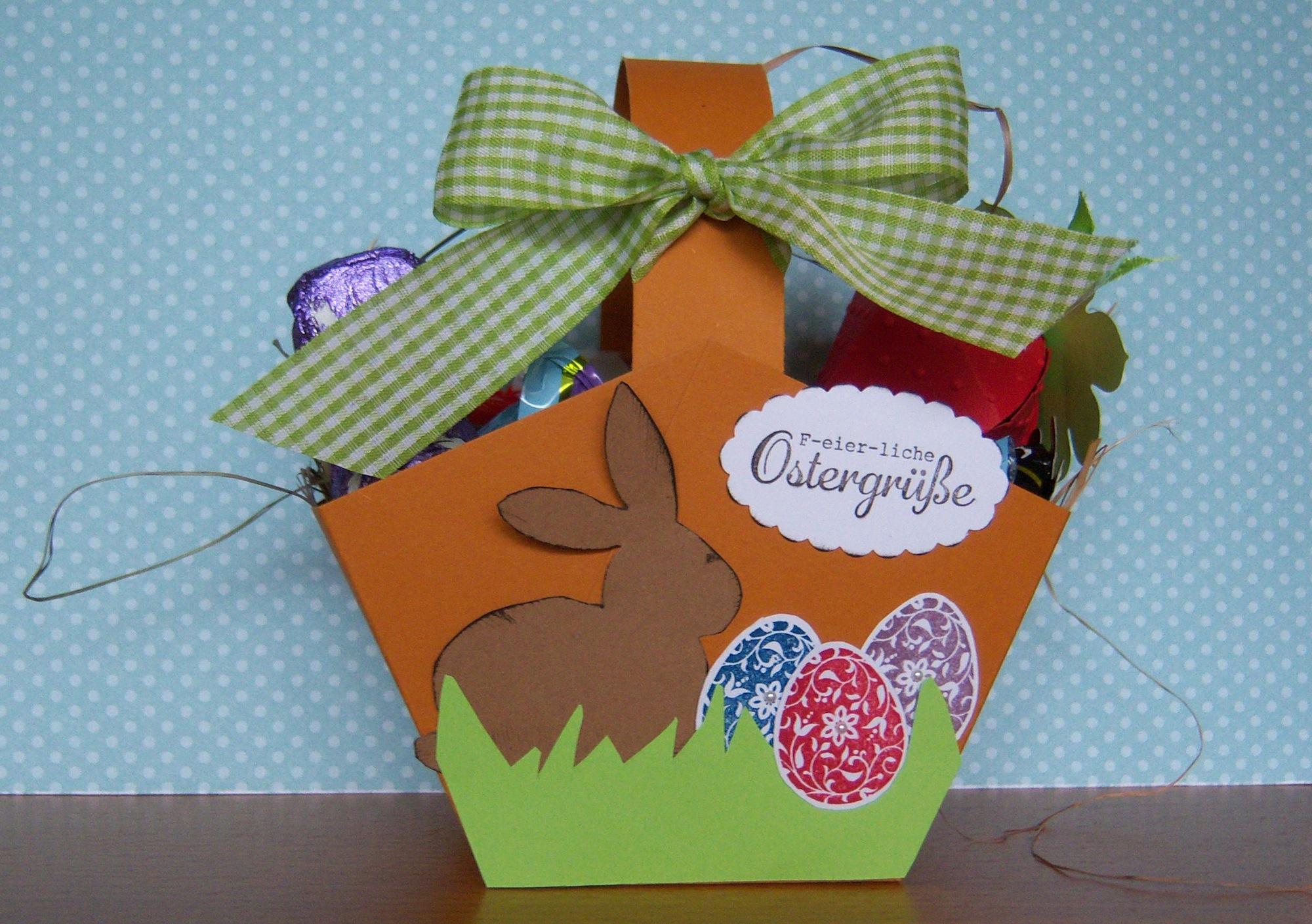 Ostern, Verpackungen - Osterkoerbchen Hase und Eier