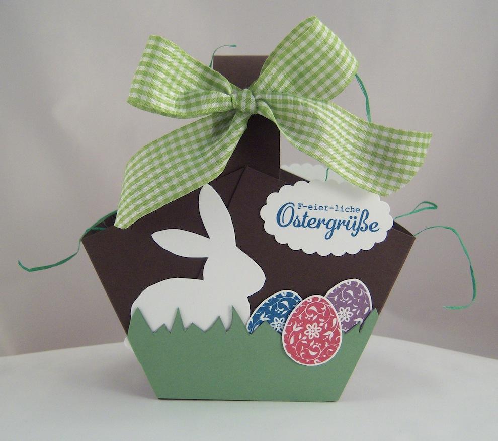 Ostern, Verpackungen - Osterkoerbchen weisser Hase und Eier