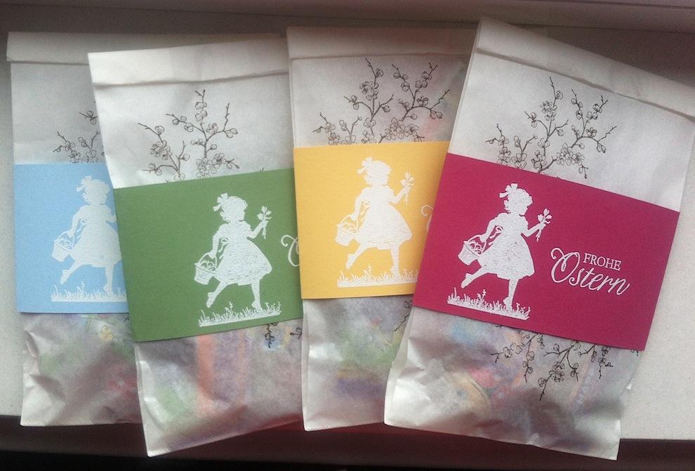 Ostern, Verpackungen - Osterverpackung Pergamentbeutel Blumenmädchen