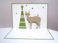 Pop-up Weihnachtskarte Rentier Tannenbaum